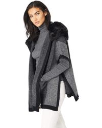 Steve Madden Zip Front Faux Fur Hooded Thick Knit Ruana - Gray