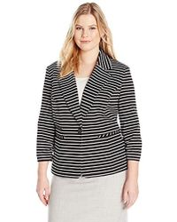 Nine West - Plus Size 1 Button Striped Notch Collar Jacket - Lyst