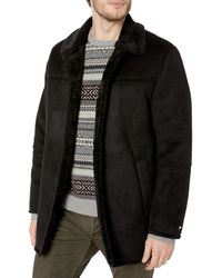 Tommy Hilfiger Classic Faux Shearling Walking Coat - Black