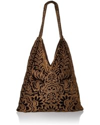 Johnny Was Velvet Hobo Bag With All Over Tonal Embroidery - Brown