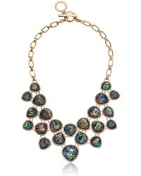 Anne Klein S Shaky Necklace With Blue Abalone And Crystal Stones Set In Gold Tone Plating