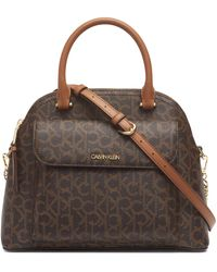 Calvin Klein Chained Signature Dome Satchel - Brown
