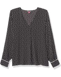 Vince Camuto Ditsy Zone Contrast Piping V-neck Blouse - Black