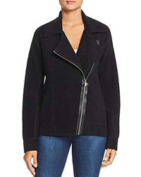 Three Dots Oc7452 Cozy Fleece Oversized Moto Jacket - Black