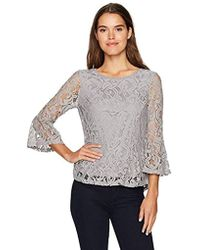 Adrianna Papell - Long Bell Sleeve High/low Peplum Lace Blouse - Lyst