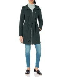 BCBGeneration Soft Shell Center Front Zip Coat With Hood - Blue