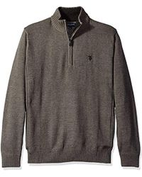 U.S. POLO ASSN. Solid 1/4 Zip With Side Body Rib - Gray