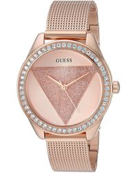 Guess - Rose Gold-tone Glitz Logo Mesh Bracelet Watch. Color: Rose Gold-tone - Lyst
