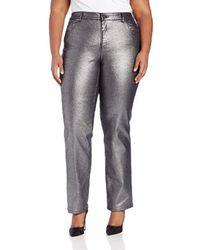 Anne Klein Plus Size Akj-leo Straight Jean - Gray