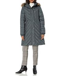 London Fog Chevron Down Quilting With Removable Hood - Gray
