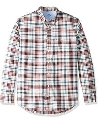 Izod Big And Tall Newport Long Sleeve Button Down Plaid Oxford Shirt - Red