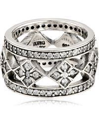 King Baby Studio Wide Band With Mb Cross And Cubic Zirconia Ring - Metallic