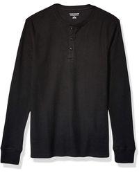 Amazon Essentials Regular-fit Long-sleeve Henley Shirt - Black