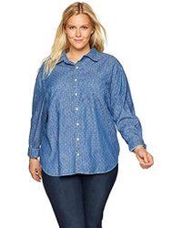 Lucky Brand Plus Size Boyfriend Shirt - Blue