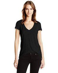 Alternative Apparel - Melange Burnout Jersey Slinky V-neck (black) Women's Clothing - Lyst