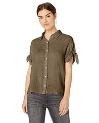 95c78de9c8 Michael Stars - Tess Double Gauze Tie Sleeve Button Down Top - Lyst