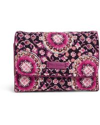 Vera Bradley Womens With Protection S Signature Cotton Rfid Riley Compact Wallet Raspberry Medallion One Size - Purple
