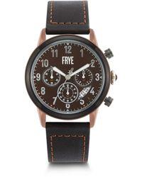 Frye Graham Stainless Steel Japanese Quartz Leather Strap - Black