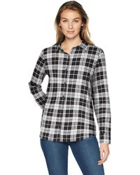 Amazon Essentials Long-sleeve Classic-fit Lightweight Plaid Flannel Shirt Shirt - Black