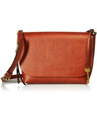 Fossil Maya Leather Small Flap Crossbody Handbag - Brown