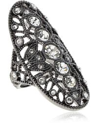 House of Harlow 1960 - Gunmetal Oval Crystal Ring - Lyst