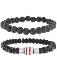 Ben Sherman - Black Stone Double Strand Stretch Bracelet Set With Stainless Steel White And Red Rondelle Beads - Lyst