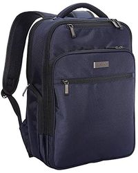 """Kenneth Cole Reaction Brooklyn Commuter Backpack Slim 16"""" Laptop & Tablet Anti-theft Rfid Business, School, & Travel Book Bag - Blue"""