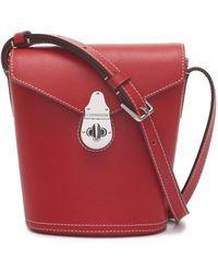 Calvin Klein Statement Series Lock Daytonna Leather Mini Bucket Crossbody Bag - Red