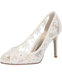 Adrianna Papell Frances Peep Toe Flower Mesh Pumps - White