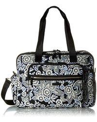 Vera Bradley Iconic Deluxe Weekender Travel Bag, Signature Cotton - Black
