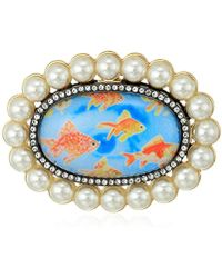 Betsey Johnson S Granny Chic Gold Fish And Pearl Brooches And Pin, Multi, One Size - Metallic