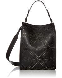 Emporio Armani Designer Embellished Leather Hobo Bag - Black