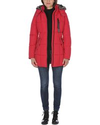 Nautica Heavy Weight Quilted Jacket With Faux Fur Trim - Red