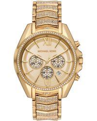 Michael Kors - Orologio cronografo con cinturino in acciaio inossidabile tono oro per donna - Lyst