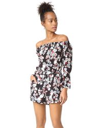 Cupcakes And Cashmere Gia Floral Print Off The Shoulder Romper - Black