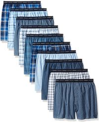 Hanes 10-pack Tartan Boxer With Exposed Waistband - Blue