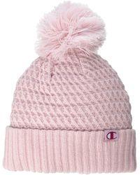Champion Pattern Pom Beanie - Pink