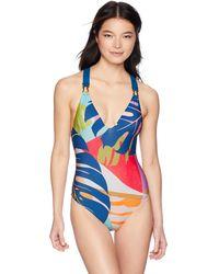 Trina Turk V-front Cross Back One Piece Swimsuit - Blue
