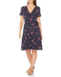 Amazon Essentials Cap-Sleeve Faux-Wrap Dress Dresses - Blu