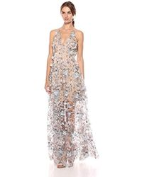 Dress the Population Embellished Plunging Gown Sleeveless Floral Long Dress - Blue
