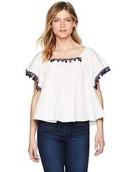 BB Dakota - Makari Flutter Sleeve Top Pom Detail - Lyst