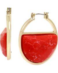 Kenneth Cole Stone Geometric Hoop Earrings - Red