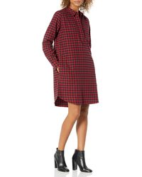 Goodthreads 100% Cotton Brushed Flannel Relaxed Fit Popover - Red