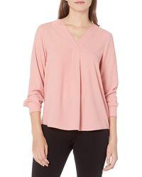 Lark & Ro Long Sleeve V-neck Pull Over Tunic Top - Pink