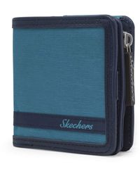 Skechers Rfid Blocking Small Wallet With Coin Pocket Travel Accessory-bi-fold - Blue