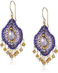 Miguel Ases Violet Lotus Multi-drop Earrings - Purple