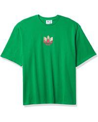 adidas Originals Womens Boyfriend 3d Trefoil Tee Green/multicolor X-large