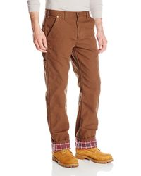 Dickies Relaxed Straight Fit Flannel-lined Carpenter Jean - Brown