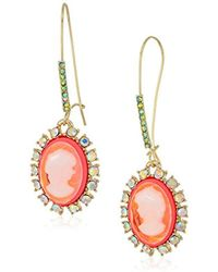 Betsey Johnson - S Granny Chic Bright Pink Cameo Drop Earrings, One Size - Lyst