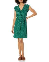 Goodthreads Fluido Twill Tulip iche Tie-Waist Vestito Dresses - Verde